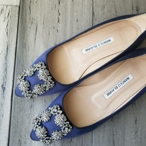Manolo Blahnik Navy Blue Satin Jewel Flats 5.5